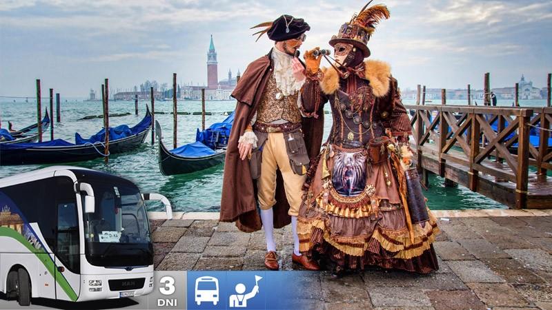 Slávny benátsky karneval počas 3-dňového zájazdu